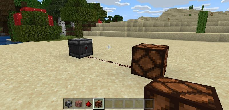 if you were to place a block in front of an observer, this would count as a change for the device which would release a red pulse for anything behind it, and facing its Redstone button on the back.