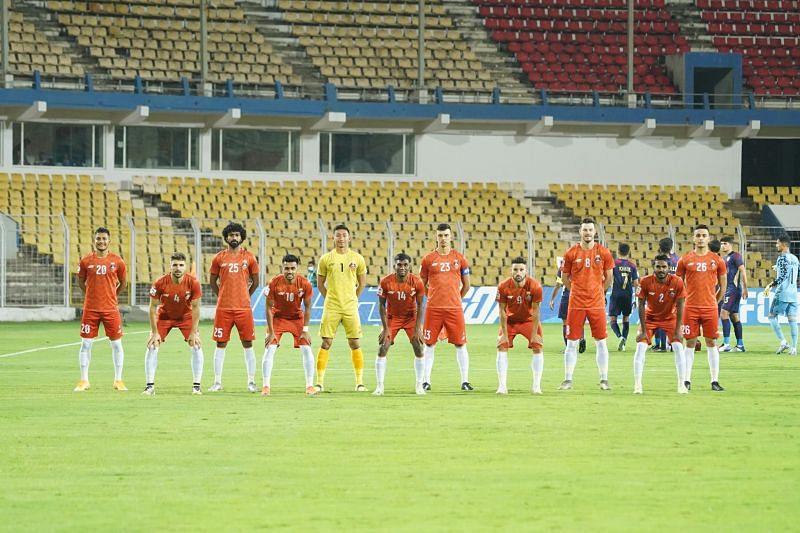 FC Goa line-up before their AFC Champions League match against Al-Wahda