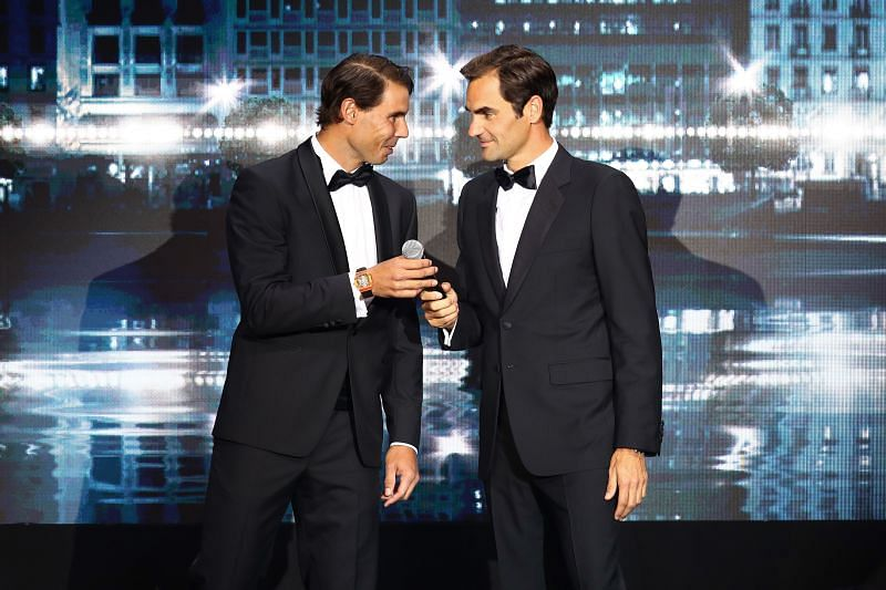 Rafael Nadal and Roger Federer during the 2019 Laver Cup