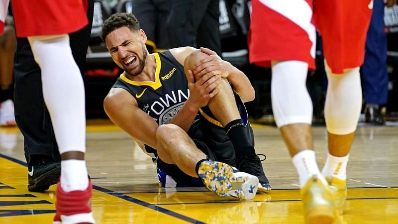 Klay Thompson goes down with an injury during Game 6 of the 2019 NBA Finals