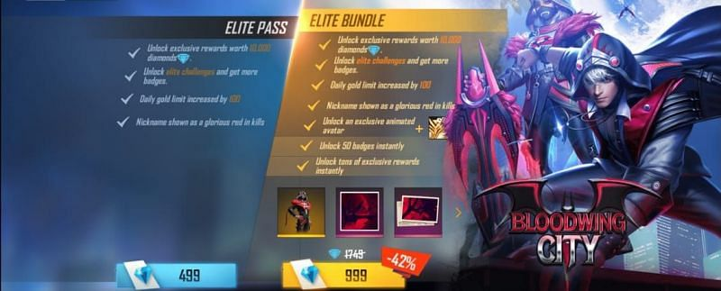 The Elite Pass and the Elite Bundle of Season 35 is priced at 499 and 999 diamonds respectively (Image via Garena Free Fire)