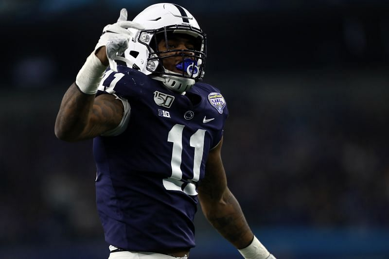 Penn State linebacker Micah Parsons celebrates after recording a sack against Memphis Tigers quarterback Brady White in the Goodyear Cotton Bowl on Dec. 28, 2019, in Arlington, Texas.