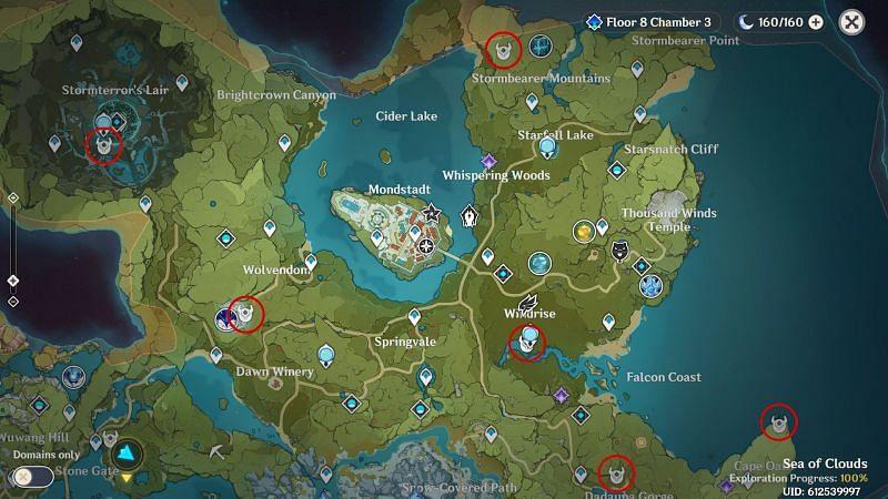 Genshin Impact Map: Unusual Hilichurl Locations in Mondstadt