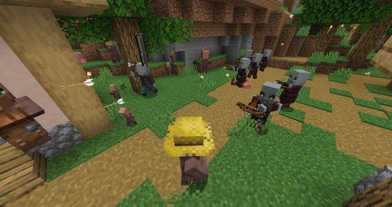 Pillager raid in action (Image via Minecraft.gamepedia)