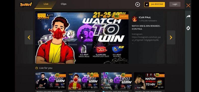 Watch live streams to win rewards