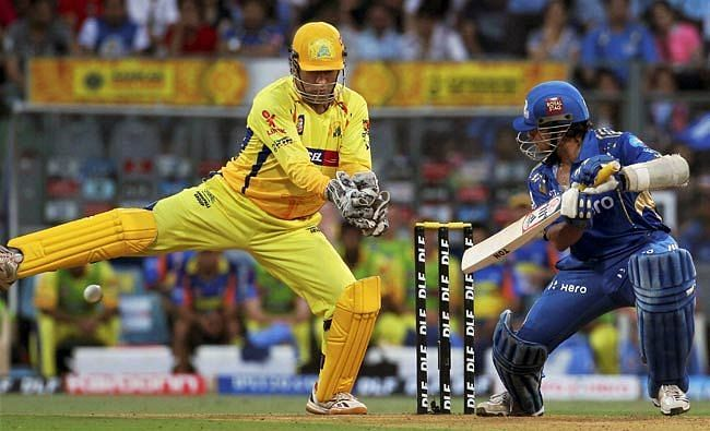 Sachin Tendulkar in the middle of his knock against CSK (Source:PTI)