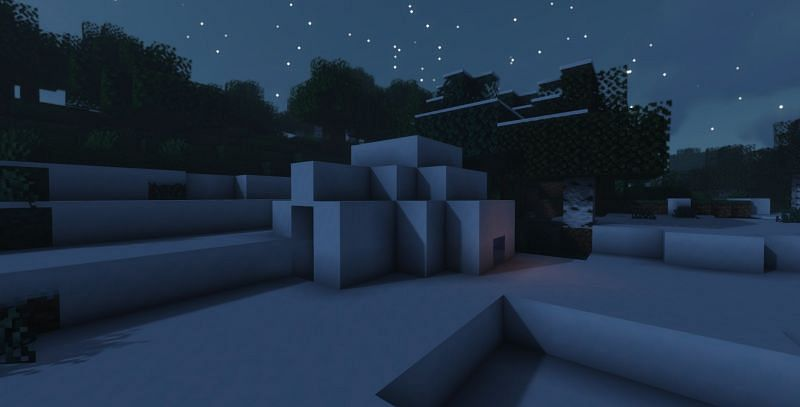 Shown: An Igloo spotted on the edge of a Snowy Tundra biome (Image via Minecraft)