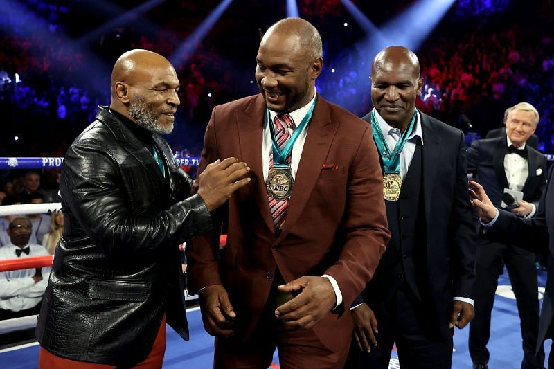 Mike Tyson (Left), Lennox Lewis (Centre), Evander Holyfield (Right)