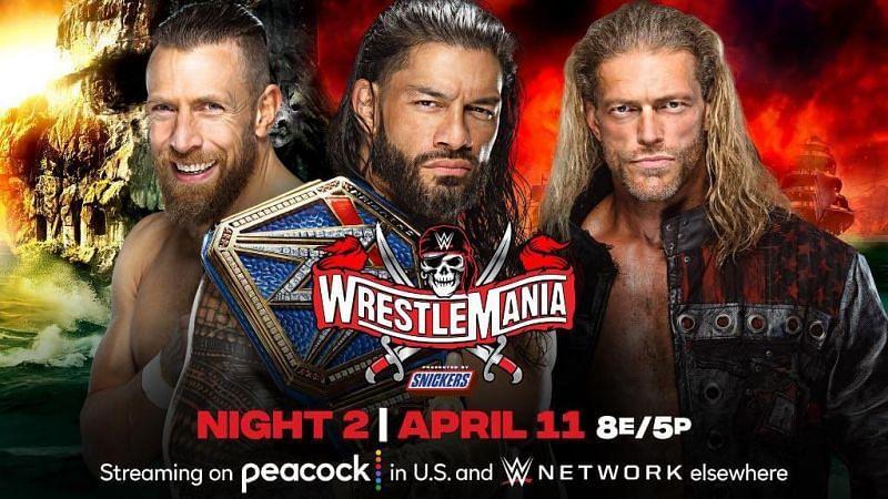 Edge vs. Roman Reigns vs. Daniel Bryan (Credit: WWE)