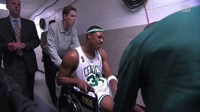 Paul Pierce is wheelchaired off the court