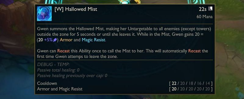 Hallowed Mist will make Gwen untargetable to all enemies for 5 seconds (Image via Surrender@20)