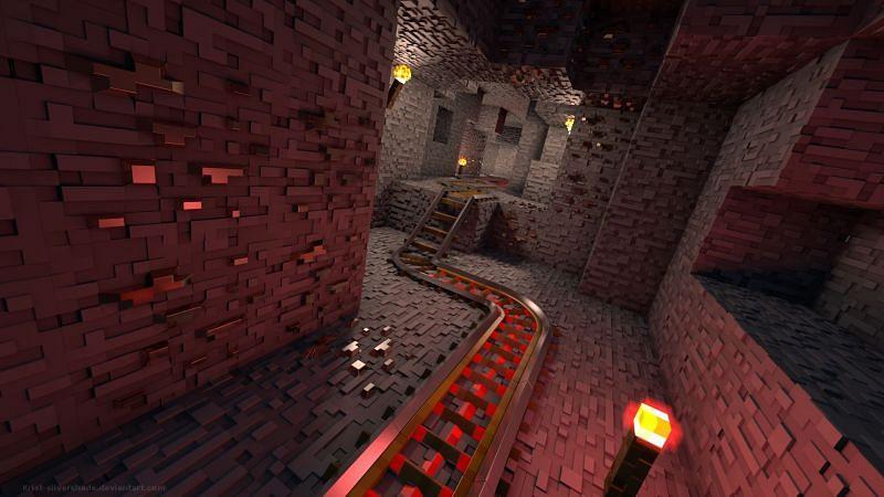Stylized railway in Minecraft (Image via krist-silvershade.deviantart.com)