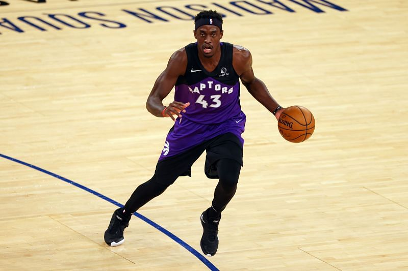 Pascal Siakam #43 of the Toronto Raptors in action against the New York Knicks