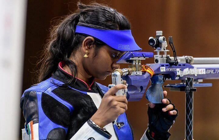 Elavenil Valarivan would avail of the 10m air rifle quota won by Anjum Moudgil at Tokyo Olympics. (Source: indianshooting.com)
