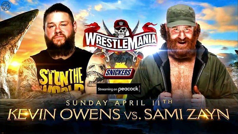 Kevin Owens vs. Sami Zayn is set for WrestleMania (Credit: WWE)