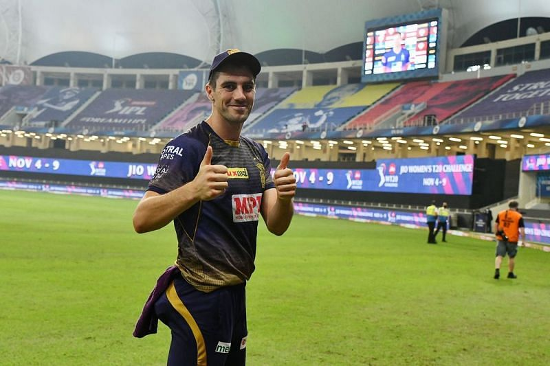Pat Cummins picked up two wickets in the IPL 2021 match between the Kolkata Knight Riders and the Punjab Kings (IPLT20.com)