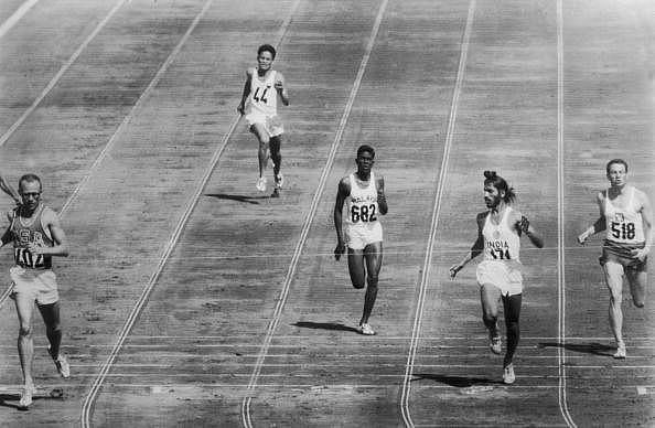 Milkha Singh (second from right) competes in the heats of the 1960 Rome Olympics.