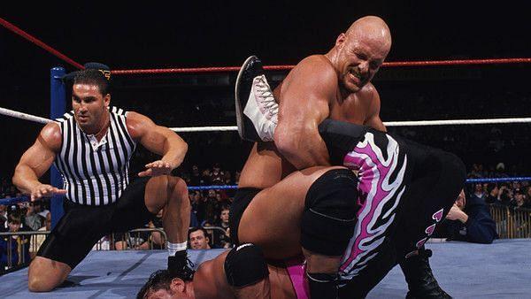 Bret Hart, Ken Shamrock, Steve Austin (Credit: WWE)