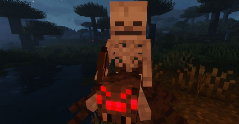 The Skeleton rider will be able to shoot while the Spider pursues the player (Image via Minecraft)