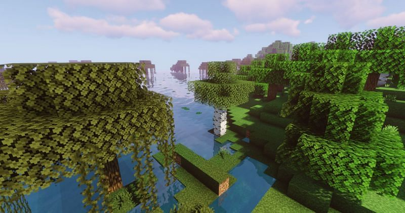 A gradient of foliage change (Image via Minecraft)