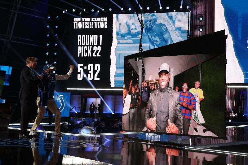 NFL Commissioner Roger Goodell announces Kwity Paye as the 21st overall pick by the Indianapolis Colts during the 2021 NFL Draft on April 29, 2021 in Cleveland, Ohio.