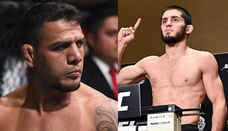 Rafael dos Anjos (left); Islam Makhachev (right)