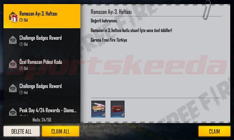 Rewards can be collected from the mail section after successful redemption