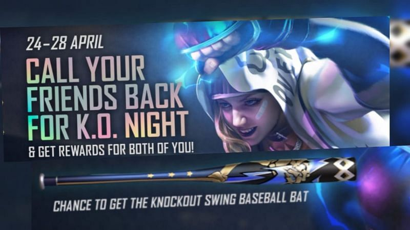 How to get free Knockout Swing Baseball Bat skin in Free Fire