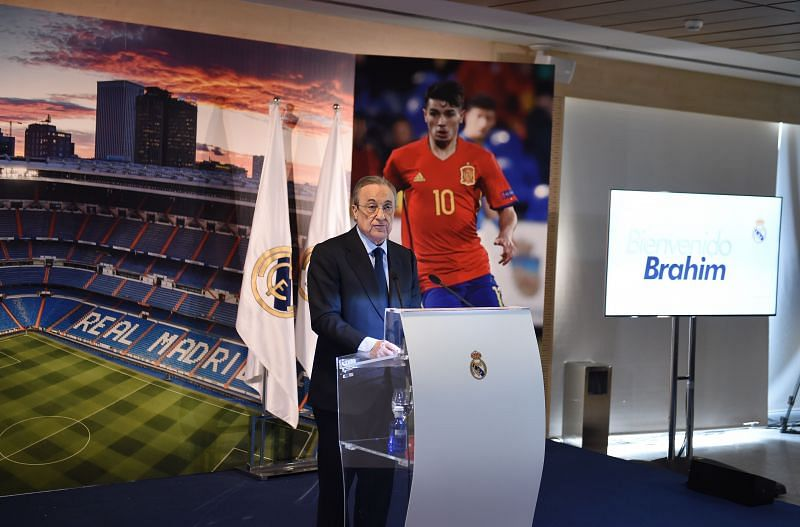 Florentino Perez talks about Modric and Ramos. (Photo by Denis Doyle/Getty Images)