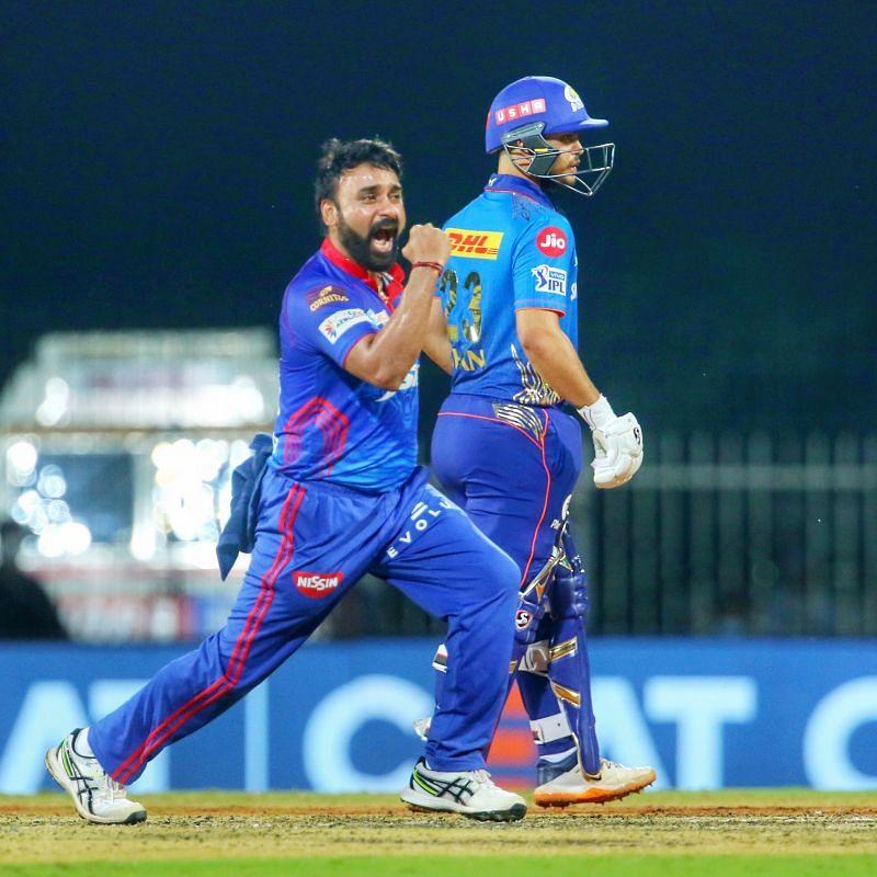 Amit Mishra celebrating a fall of wicket. Pic Credits: Delhi Capitals Twitter