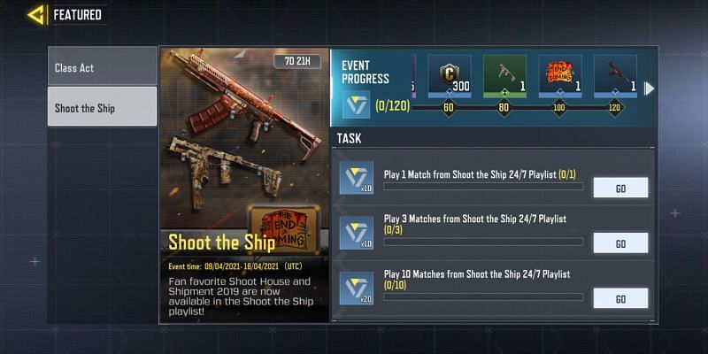 The event features ten tasks and five rewards