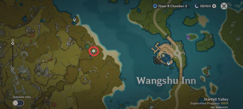 Carrot location in Genshin Impact: To the West of Wangshu Inn