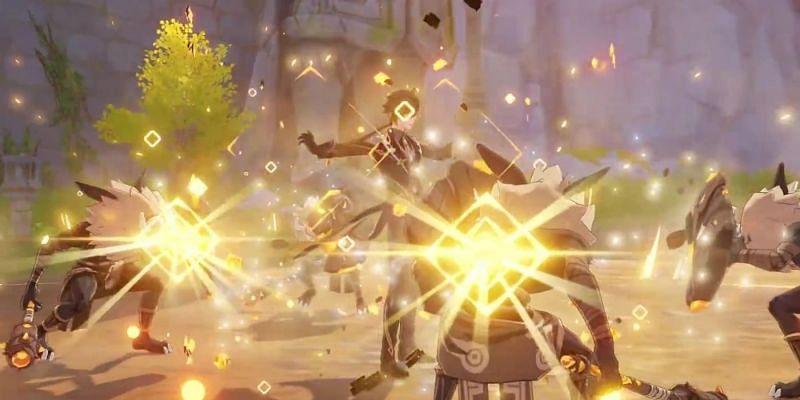 Zhongli using his hold skill (Image via miHoYo)