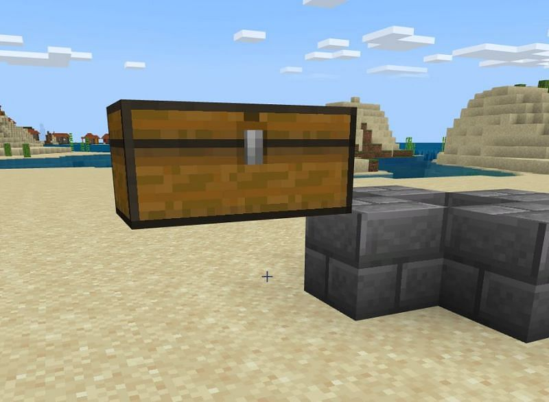 You will then want to make an extension of one of those blocks so that you can in turn set up a double sized chest. Destroy the block that it was built off of and then proceed to the next step