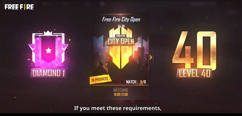 Free Fire City Open requirements