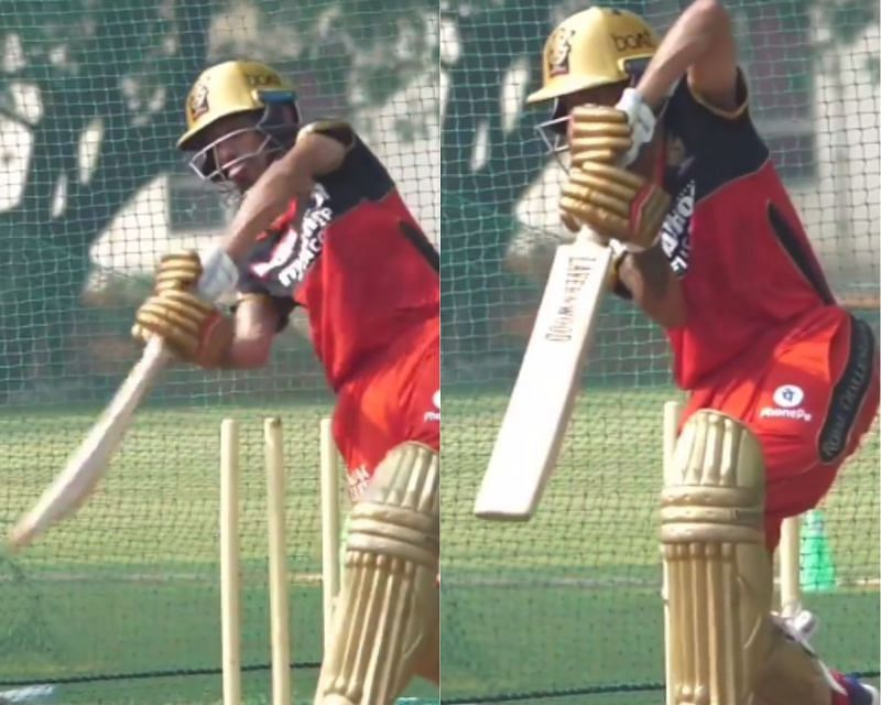 Yuzvendra Chahal batting in RCB nets. (PC: Instagram)
