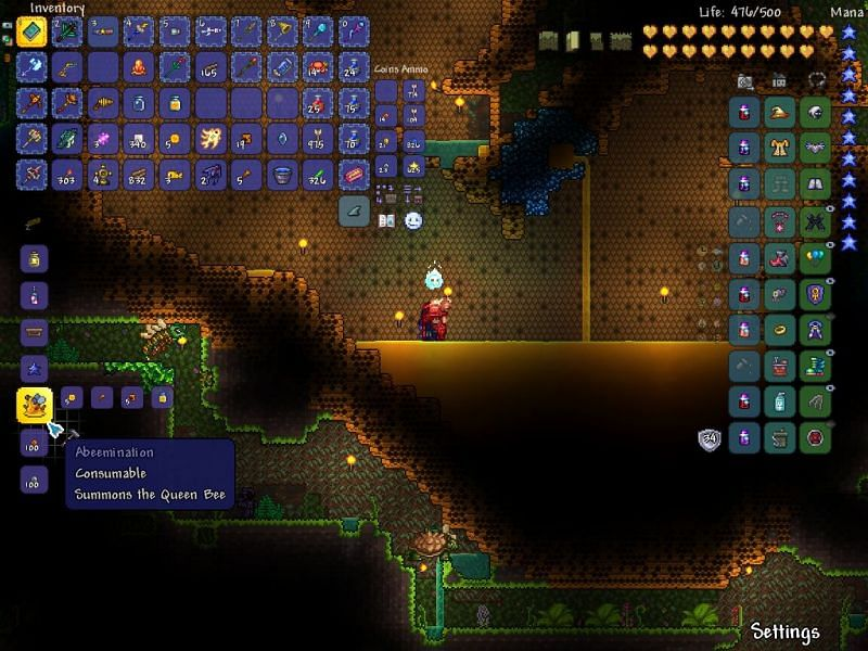 Once you have 5 hive blocks, 1 bottled honey, 5 honey blocks, and a stinger you can craft the abeemination from your inventory.
