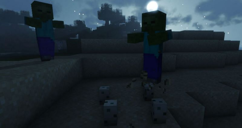 Zombies will smash any Turtle Eggs they find on the beach (Image via Minecraft)
