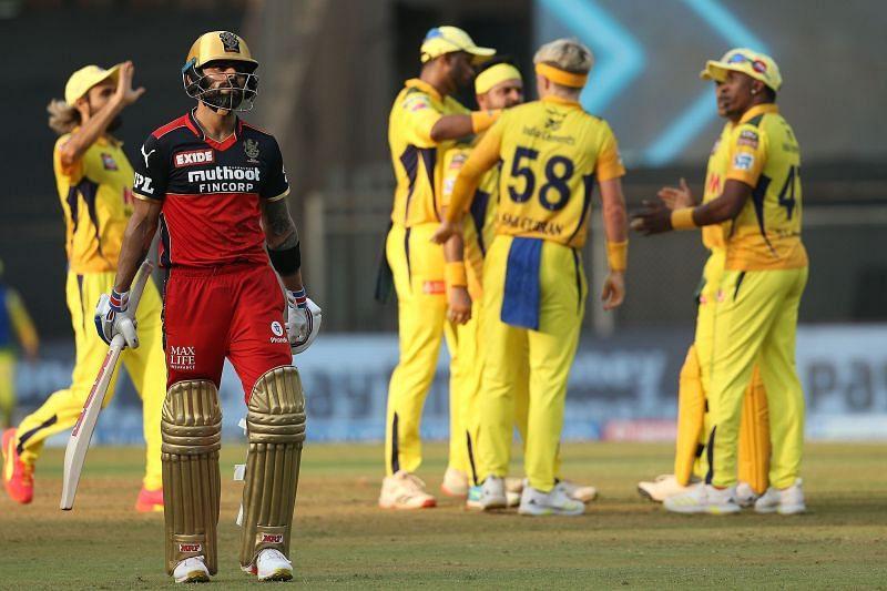 Virat Kohli walks back after scoring a 7-ball 8 against CSK