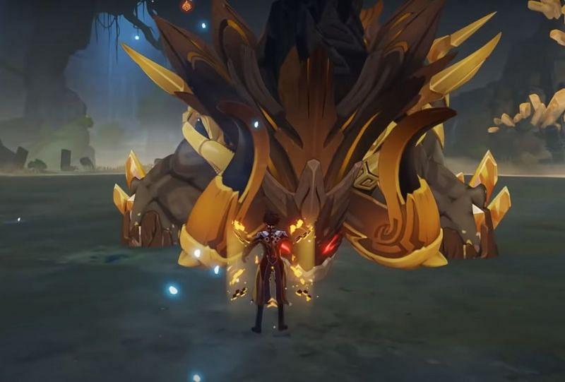 Azhdaha boss battle in Genshin Impact: Zhongli