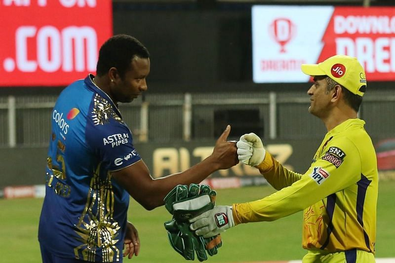 Kieron Pollard (left) will look to continue his dominance against CSK. (Image Courtesy: IPLT20.com)