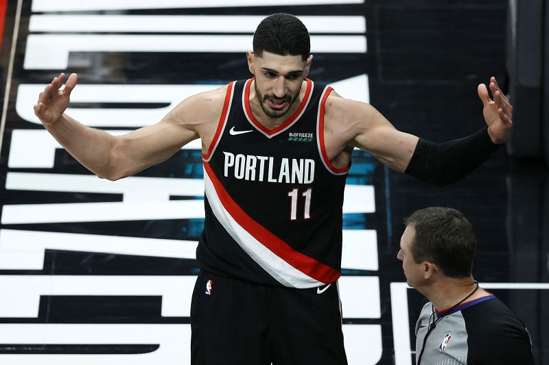 Enes Kanter #11 reacts toward the referee after a foul.