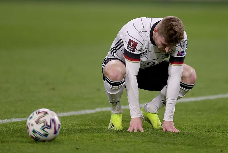 Timo Werner after squandering a golden chance for Germany