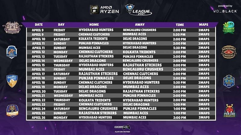 Skyesports Valorant League 2021 Schedule (Image by Skyesports)