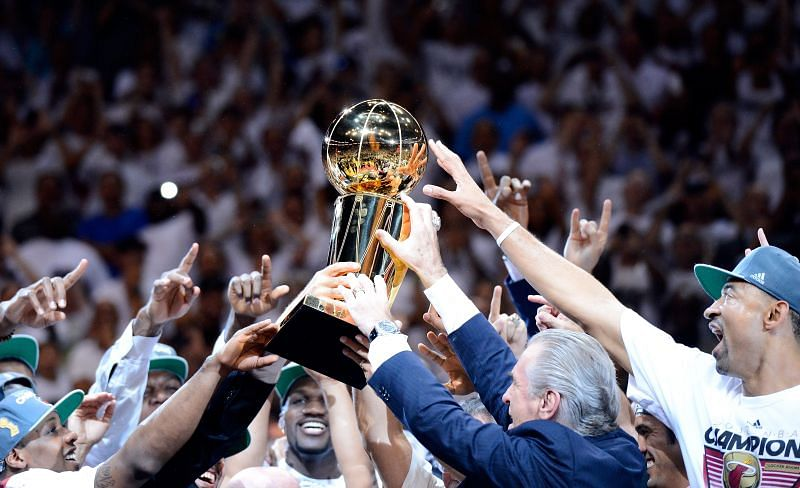 The Miami Heat celebrates after winning the 2012 NBA Finals.