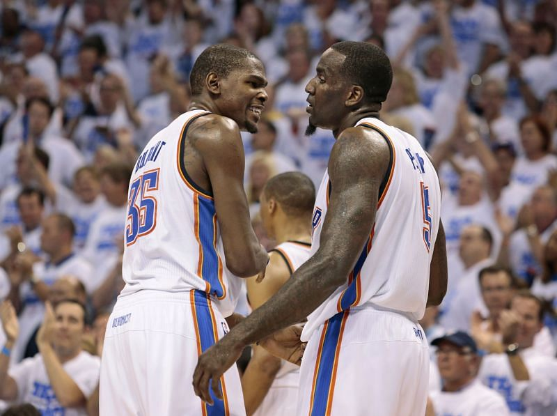 Kevin Durant (#35) and Kendrick Perkins (#5)