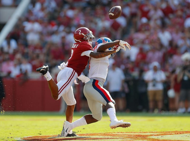 Alabama cornerback Patrick Surtain II breaks up a pass intended for Ole Miss Rebels wide receiver Jonathan Mingo on Sept. 28, 2019.