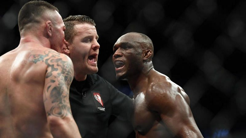 Colby Covington (left); Marc Goddard (center); Kamaru Usman (right)