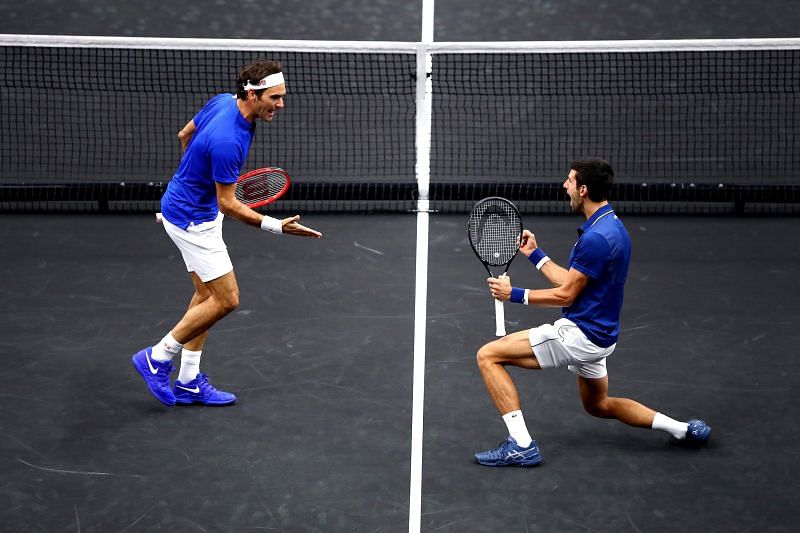 Roger Federer and Novak Djokovic at the Laver Cup