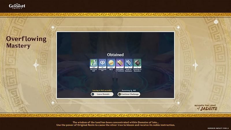 Overflowing Mastery will allow quicker talent level-up materials farming (Image via miHoYo)